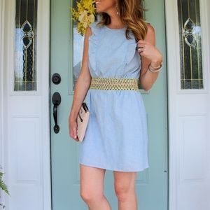 Madewell Chambray Ruffle Dress